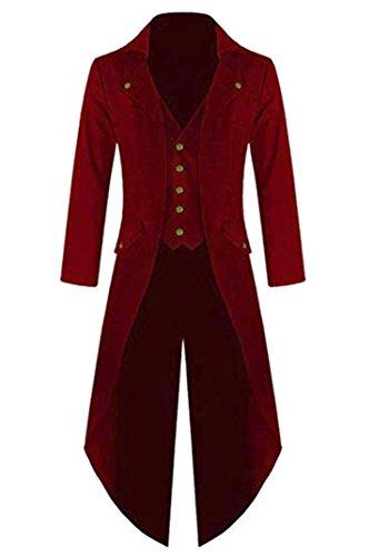 (Pxmoda Herren Steampunk Vintage Frack Jacke Gothic Victorian Kleid schwarz Steampunk Coat Uniform Kostüm (Weinrot, Medium))