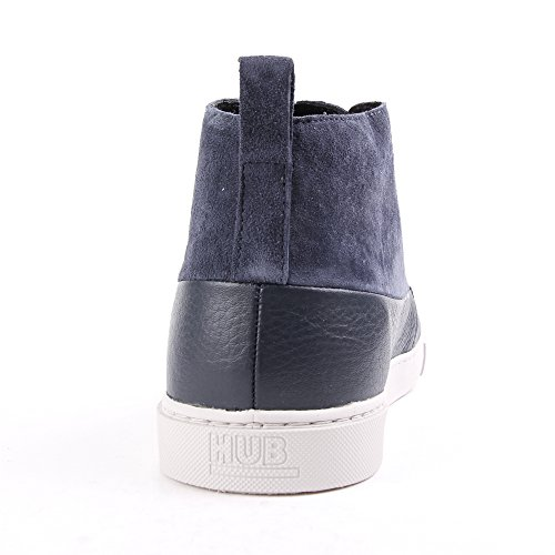 HUB Camden Leather Dark Blue Light Grey Bleu