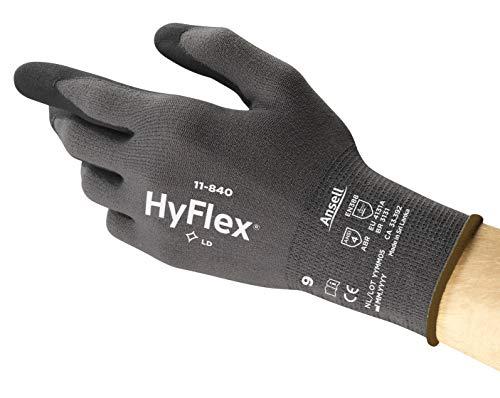 Ansell HyFlex 11-840 Arbeitshandschuhe, Vielseitig Einsetzbarer Abriebfester Industrie- und Mechanik-Handschuh, Grau Schwarz Größe 9 (12 Paar)