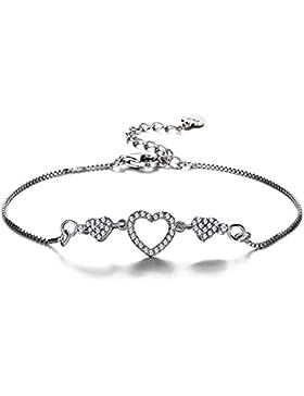 F. ZENI Armaband Damen aus 925er Sterling Silber mit funkelnden kubischen Zirkonia, süßes Armband mit Liebe Herz...