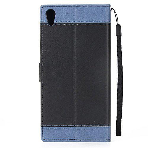 Dual Color Matching Premium PU Leder Flip Stand Case Cover mit Card Cash Slots und Lanyard für Sony Xperia XA1 ( Color : White ) Black