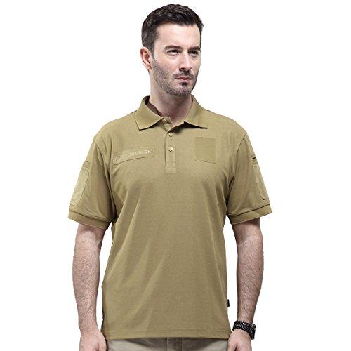 Free Soldier 100% Coolmax Polo Shirt Herren Taktisches Schnelltrocknendes Breathable T-Shirt für Camping & Wandern Kurzarm T-Shirt(Wolf-Braun, L)