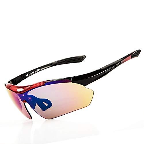 AmDxD TPU+PC Brillenträger Schutzbrillen Fahrradbrille Radsportbrille Sport Polarisierte Sonnenbrille 5 Linsen für Motorrad Fahrrad Helmkompatible, Rot