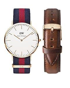 Daniel Wellington 0106DW-0301SET - Reloj de cuarzo para hombre, correa de cuero color marrón de Daniel Wellington