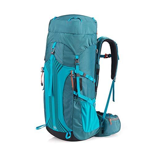 Borsa da alpinismo per carichi pesanti outdoor (65 + 5l), zaino da viaggio con copertura antipioggia impermeabile per viaggi outdoor alpinismo invernale trekking,blue