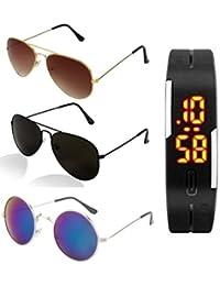 8d0c1135a5ed4 Combo Set of 3 UV Protect Aviators Unisex sunglasses   goggles for Men Women  (