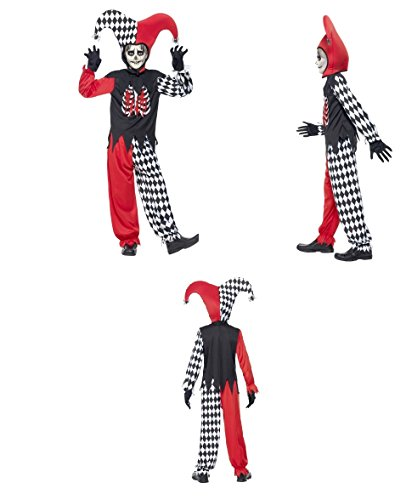 Childrens Adult Evil Jester Joker Clown Costume, Black, with Trousers, Top, Hat and Gloves Halloween Fancy Dress 43020 (Medium Age 7-9 ()