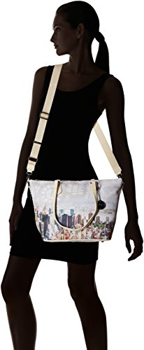 YNOT Shopping M, Borsa a Spalla Donna, 40 x 25.5 x 15 cm (W x H x L) Multicolore (Beige Manhattan)