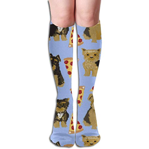 Yorkie Pizza, Yorkshire Terriers Pizza Funny Cute Dog Novelty Food Print for Yorkie Owners Best Dogs for Home Dec Men's Women's Cotton Crew Athletic Sock Running Socks Soccer Socks 60cm - Dog Food Yorkie
