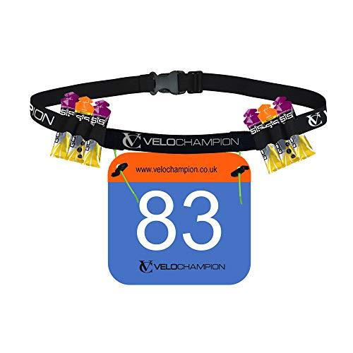 VeloChampion LA Cintura PORTANUMERO per Triathlon und Maratona con 6 Supporti per Il Gel IDRATANTE