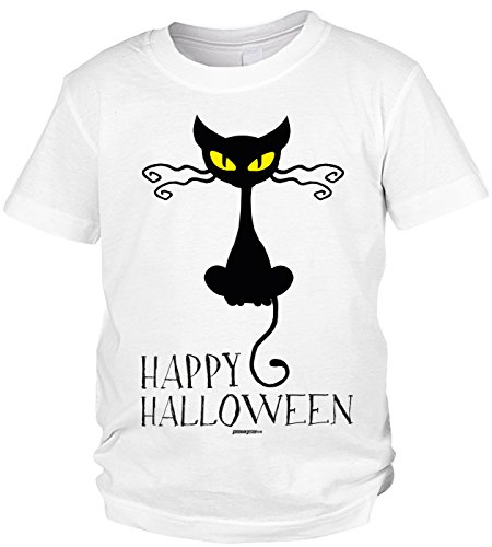 Kinder Halloween T-Shirt - Kindershirt Halloweenparty : Happy Halloween Cat -- Kinder Tshirt schwarze Katze Gr: S (Kinder Weiße Katze Kostüme)