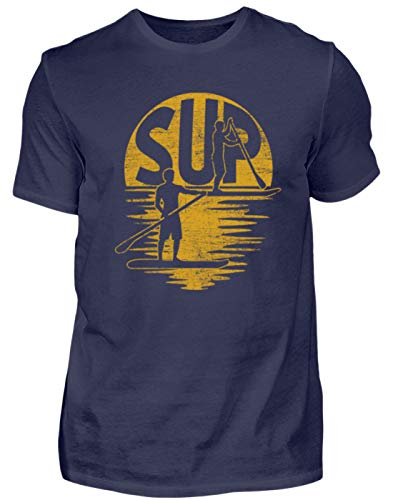 Sup - Stand Up Paddling - Paddle Board Surf Surfer Surf Tabla Deportes acuáticos - Hombre Camiseta Azul Oscuro M