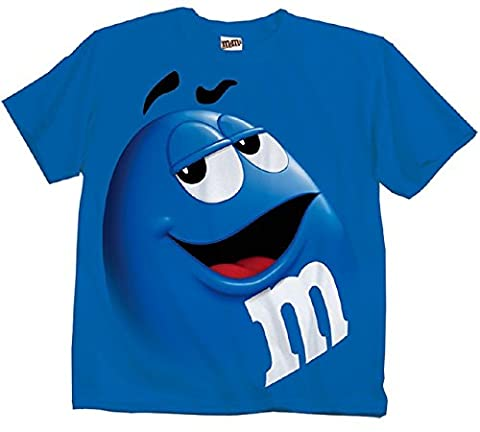 M&M's Candy Silly Character Face T-Shirt (Blue-Youth L)