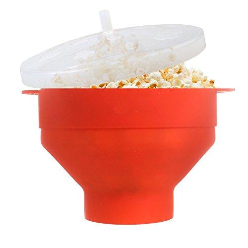 Mikrowellen Popcorn Maker aus Silikon - zusammenklappbare Schüssel mit Deckel und Griffen – Popcorn Schüssel