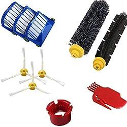 Eidoct Accessoire pour aspirateur Irobot Roomba 650 Series Kit de pièces de Rechange - Comprend 3 filtres, Brosse latérale, 1 Brosse à Poils et Une Brosse à Batteur Flexible, 1 Outil de Nettoyage