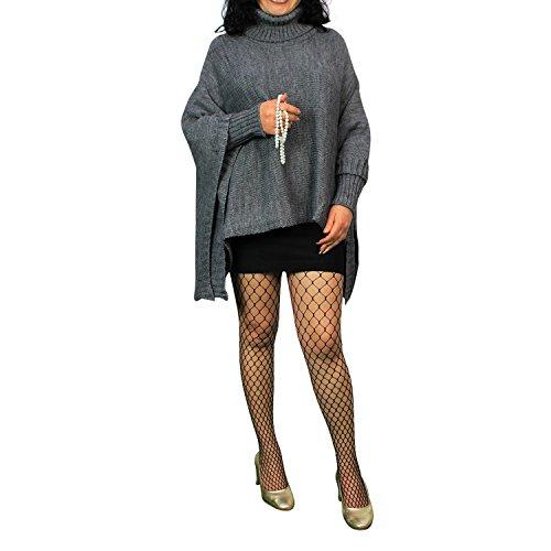 Damen Strick-Poncho Pulli winter Mantel Damen Pullover Top JY-3 PO201601 03DunkelGrau