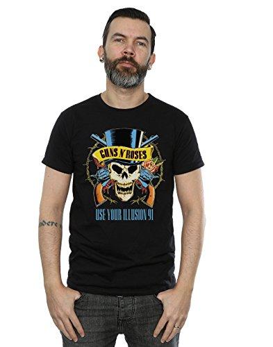 Guns N Roses Herren Use You Illusion 91 Tour T-Shirt Large Schwarz (Tour Sommer T-shirt)