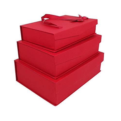 Emartbuy Set von 3 Starrer Luxus Rechteck Präsentation Geschenkbox, Roter Box mit Magnetischer Klappe, Satinschleife und Tragegriff