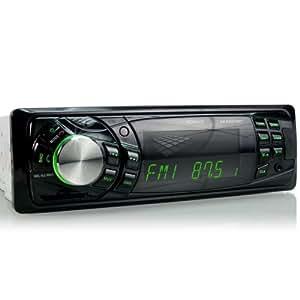 XOMAX XM-RSU216BT Autoradio avec fonction sans fil Bluetooth + 7 couleurs d'éclairage (bleu, turquoise, rouge, jaune, lilas, vert claire, vert) + Port USB (jusqu'à 32 GB) & fente pour cartes SD (jusqu'à 32 GB) pour fichiers MP3 et WMA + Entrée AUX + Profondeur réduite + Dimensions standard simple DIN (DIN1) + Tiroir métallique et télécommande inclus