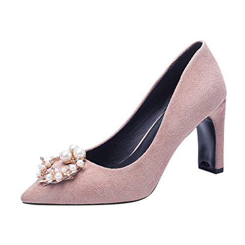 feiXIANG Damenschuhe Square High Heels Sandalen Party Pearl Strass Pumps Sommer Elegant Hochzeit Abendschuhe (Rosa,41) (Knie-pad Square)