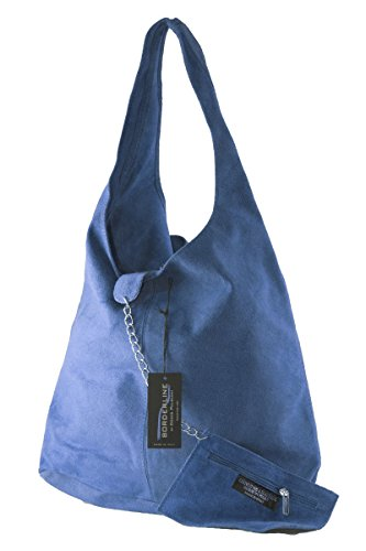BORDERLINE - 100% Made in Italy - Borsa Sacca da Donna Sfoderata in Vero Camoscio - SARA Blu jeans