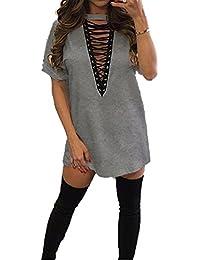 Damen Minikleid Lange Ärmel IHRKleid Tiefe V-Ausschnitt Mini Hemdkleid Tops Bluse