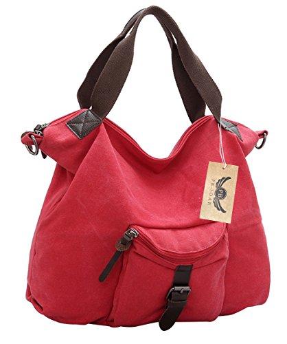 PB-SOAR Damen Vintage Canvas Umhängetasche Schultertasche Handtasche 44 x 33 x 12cm (B x H x T) (Blau) Rot