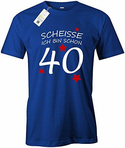SCHEISSE ICH BIN SCHON 40 - HERREN - T-SHIRT Royalblau