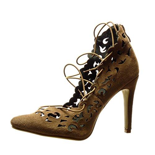 merletto decollete alto Stiletto 10 scarpe Moda Tacco stiletto CM sexy Angkorly Scarpe Khaki perforato donna 8qSwTT