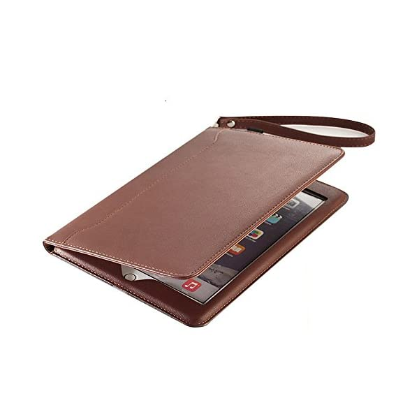 TechCode Slim Fit Premium PU Leather Case Tablet Smart Stand Case Cover With Card Slot And Hand Strap