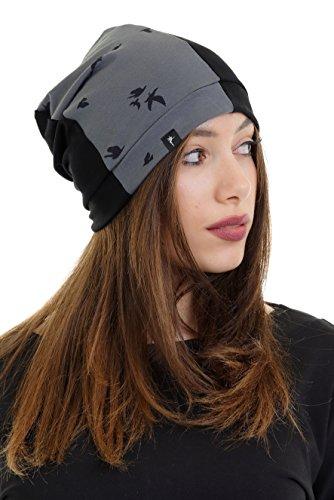 Mütze Harley Quinn - coole leichte schwarz Damenmütze Beanie von 3Elfen für Damen, Mädchen chic Winter Herbst Übergangsmütze Frauenmütze - grau Vogel L/XL (Harley-damen-hut)