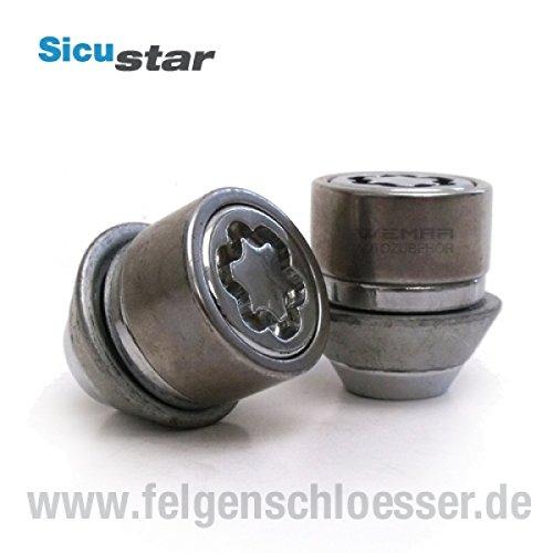 Sicustar Felgenschloss Mutter M12x1,5 - Kegel 60° 2tlg. Ford - SW 19