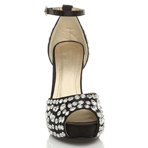 Damen Hohen Absatz Juwelenbesetzte Peep Toe Knöchelriemen Plateau Schuhe Größe Schwarz mit weiß strass