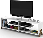 HomeCanvas RF170101 Canvas Kipp TV Stand Made In Turkey Modern Living Room TV Unit (White and Walnut)