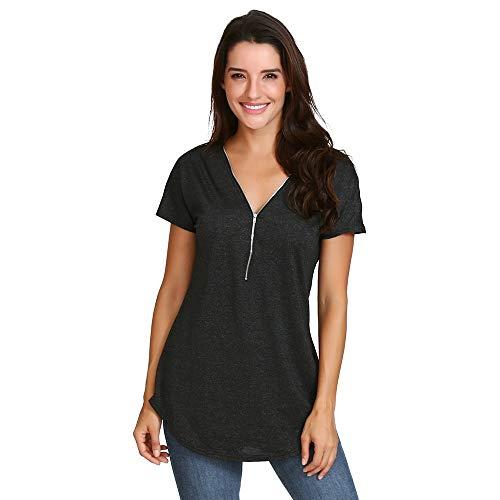n Loose Fitting Reißverschluss V-Ausschnitt Kurzarm Tunika Casual T-Shirt Bluse ()