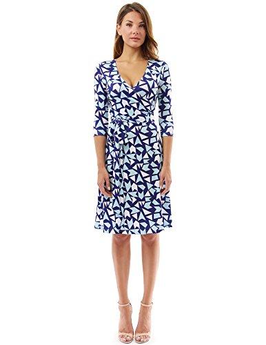 3/4-kleid (PattyBoutik Damen geometrisches Faux wrap Sonnenkleid mit V-Ausschnitt (dunkelblau, hellblau und weiß 15 L 42/44))