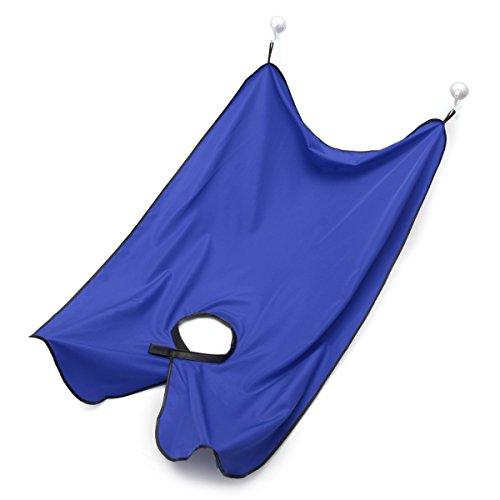 Barba Delantal para afeitarte la barba  Luckyfine Babero para barba con ventosa  que su baño de mantener limpio (Azul)