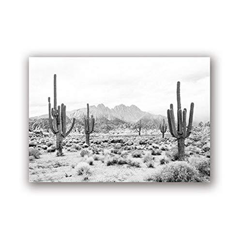 chtshjdtb Wüstenlandschaft Schwarz-Weiß-Druck Moderne Fotografie Poster Saguaro Kaktus Kunst Leinwandbild Home Wall Art Decor -50x100cmx1 pcs No Frame