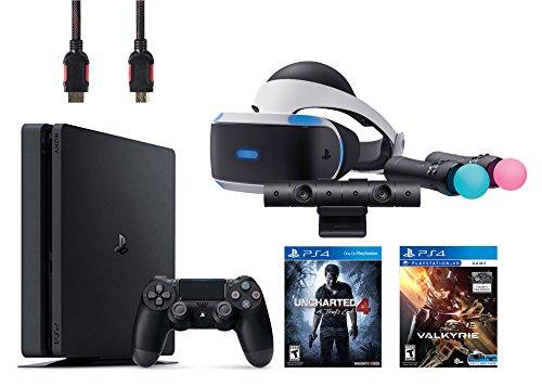 PlayStation VR Start Bundle 5 Items:VR Headset,Move Controller,PlayStation Camera Motion Sensor,PlayStation 4 Slim 500GB Console - Uncharted 4,VR Game Disc PSVR EV-Valkyrie(US-Version, Importiertes)