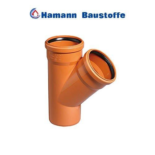 KG Einfachabzweig 45° DN 125/125 KGEA Abzweig Kunststoff Abwasserrohr - zur Abwasserentsorgung im Erdreich von einem Gebäude bis zur öffentlichen Kanalisation