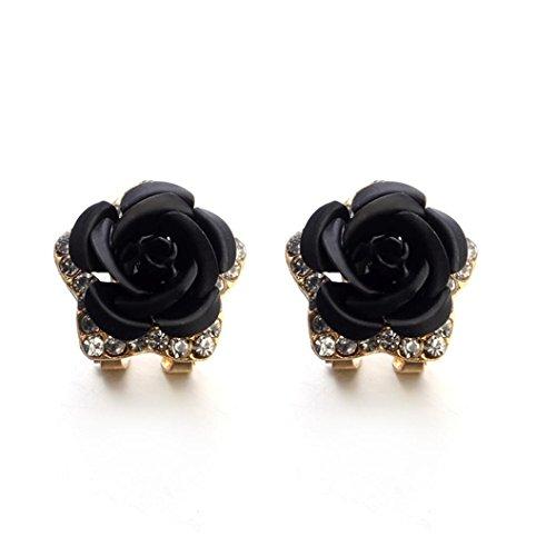 LCLrute Modeschmuck Böhmen Blume Strass Ohrringe Für Frauen Sommer Stil (Schwarz) (Wolle Michael Schwarz Kors)