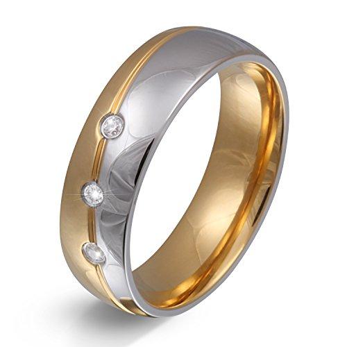 Juwelier Schönschmied - Unisex Partnerring Ehering Hochzeitsring Trauring Femar Edelstahl Zirkonia 62 (19.7) 168Dac