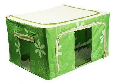 PackNBUY GREEN Foldable Closet Storage Box Steel Frame Organizer for Underwear Socks Toys