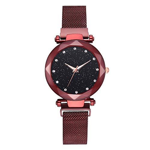 Fymia★★✿✿Frauen-Quarz-Maschen-Gurt-Uhr-Analog-Handgelenk-Diamant Sternenhimmel Muster-Uhr