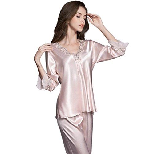 Ren chang jia shi pin firm pigiama femminile di grandi dimensioni pigiama sexy due set di ghiaccio di seta primavera estate autunno casa servizio a domicilio (color : pink, size : xl)