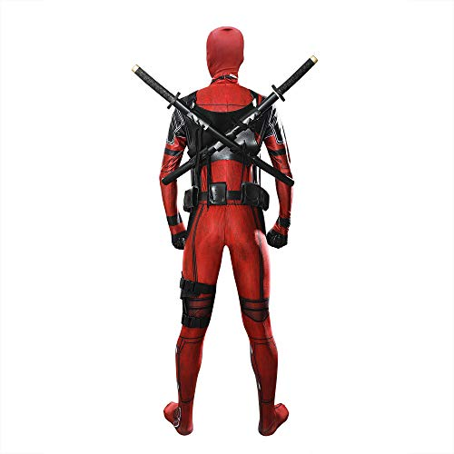 Deadpool Kostüm Girl - ZHANGQI Superheld Deadpool Kostüm Requisiten Cartoon Enge Kleidung Set Halloween Kombinierte Bühne Kostüm Geschenk,Red+Accessories