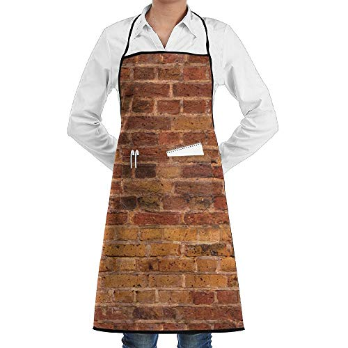 GDESFR Apron with Pock,Awesome Red Brick Wall Fashion Waterproof Durable Apron with Pockets for Women Men Chef