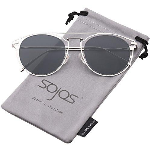 SOJOS Sonnebrille Metall Falch Linsen Rund Rahmen Schick SJ1097 mit Silber Rahmen/Grau Linse