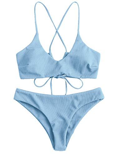 ZAFUL Damen Criss Cross Lace Up Gepolstert Bikini Set Badeanzug (Blau, M) -