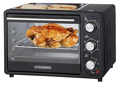 3in1 Mini Backofen 20 Liter mit Umluft inkl. Warmhalteplatte | Minibackofen | Pizza-Ofen | Krümelblech | zuschaltbare Umluft | Temperatur 100-250°C | abnehmbare Grillplatte | 60 min.Timer | 1380W